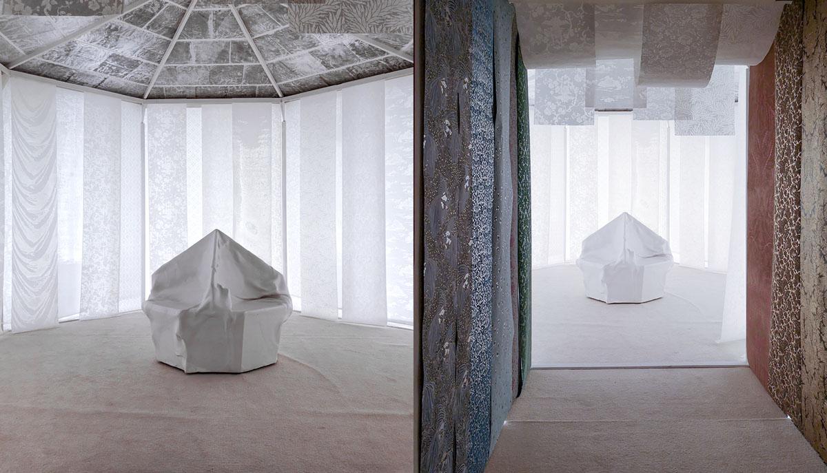 Première exposition d'artisanat d'art en Chine avec un espace sphérique en washi et en carton-pierre. Musée national, Pékin